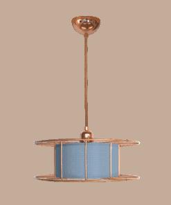 Tolhuijs Design, Hanglamp, spool, lasdraad, lamp, blauw