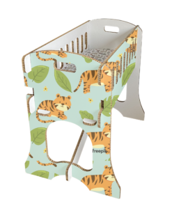 KarTent - Babywieg van Honingraat Karton - Papercrib Tijger Blauw - Duurzaam karton - CE gekeurd